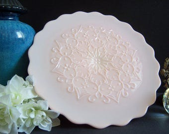 Fenton Spanish Lace Pink Milk Glass Cake Stand - Wedding Cake Stand - Pink Milk Glass - Fenton Pink Cake Stand - Vintage Wedding - Wedding
