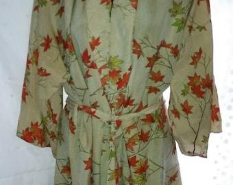 FALL CLEARANCE SALE 70s Vintage Silk Kimono Jacket-Japan-Fall Leaves-Medium-Hipster Boho Boheme Hippie Kawaii