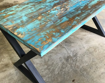 Teal & Aqua Reclaimed Wood Dining Table or Desk
