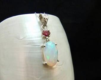 Ethiopian Opal & Garnet Sterling Silver Necklace