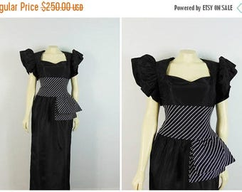 B-DAY SALE Vintage Dress 80 Prom Dress Brides Couture Black & White Formal Dress Stripes Poofy Sleeves Nwt Deadstock Size Small to Medium