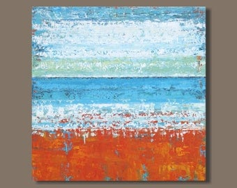 FREE SHIP large abstract art, landscape painting, abstract seascape painting, orange and blue, modern art, ocean painting, beach painting