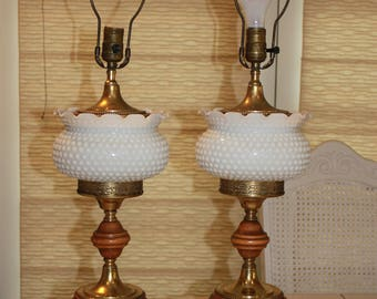 Hobnail milkglass lamps milkglass and wood table lamps pair of milkglass lamps