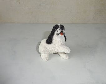 Vintage Dog Figurine Springer Spaniel Black Cocker Spaniel UDC Statue Resin Figurine Small Sitting