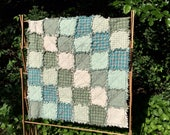 Sale - Baby Patchwork Rag Quilt - READY TO SHIP - Homemade Quilt, Baby Quilt, Play Quilt, Farmhouse, Table Topper