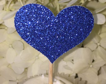 120 Heart Cupcake Toppers Sparkling ROYAL BLUE HEARTS Wedding Cake Decorations Food Picks Appetizers