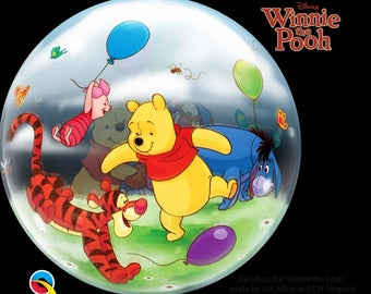 Winnie the Pooh 22 inches Bubble Balloon for first birthdays, centerpieces, party decorations, toddlers parties, Baby Showers, Gift Baskets.