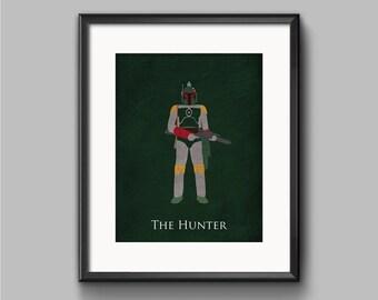 Star Wars The Empire Strikes Back - The Hunter - Boba Fett Art Print - poster, bounty hunter, star wars, minimalist