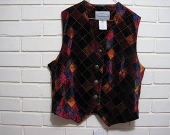 Vtg cut velvet & gold thread vest size PS