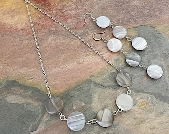 Gray Agate Necklace - Long Round Earrings - Grey Stone Jewelry - Stainless Steel