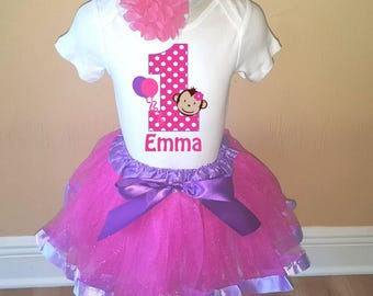 Birthday Personalized Pink Purple Monkey Shirt Tutu Headband Set - ANY Age