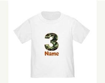 ON SALE Camo Personalized Birthday Shirt Camoflauge Birthday T-shirt - Any Age