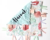 Elliott  - Baby girl lovey tag sensory security blanket toy pink minky personalized embroidered woodland watercolor floral blush mint navy