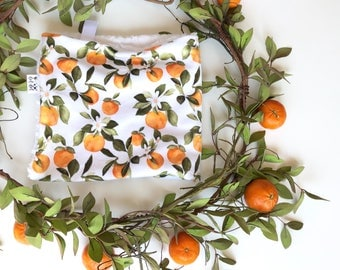 LOVEY - Orange Blossom - Baby girl security double minky blanket watercolor floral fruit white flowers personalized embroidered modern