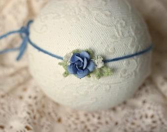 ready to ship newborn photography prop baby photo prop-periwinkle dainty rose tieback headband, blue colored headband