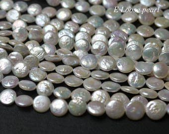 Coin pearl Freshwater pearls loose pearls Coin pearl necklace 12-13.5mm White 32pcs wedding Full Strand PL4330