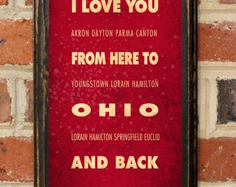 Ohio OH I Love You From Here And Back Wall Art Sign Plaque Gift Present Personalized Custom Color Home Decor Vintage Style Cleveland Antique