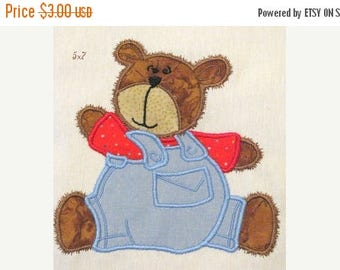 ON SALE Bear Boy With Dungarees Machine Applique Embroidery Design - 5x7 & 4x4