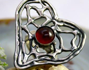 Hessonite Ring Garnet Stone Ring Sterling Silver Jewelry