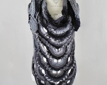 Crochet - Virus Women's Shawl / Wrap - Mulit Color - Black and Silver Tones