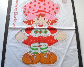 Vintage Strawberry Shortcake Spring Mills # 5709 Pillow Panel American Greetings  1980 Cut & Sew Fabric Panel Stuffed Doll  cotton fabric
