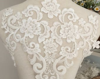 Illusion back beaded bridal lace applique in ivory ,large exquisite embroidery bridal gown wedding dress back lace applique