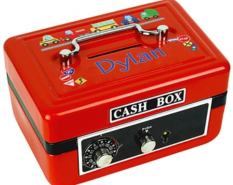 Personalized Cars and Trucks Childrens Red Cash Box Motor Transportation Automobile Red Blue Yellow cash-red-223