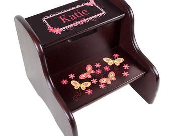 Personalized Espresso Two Step Stool with Yellow Butterflies Design-fixe-esp-300d