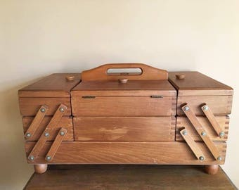 Mid Century Expanding Wooden Sewing Box /  Large Folding Tiered Wood Box