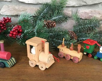 Toy Train Ornaments  /  4 Colorful Kitschy Wooden Toy Ornaments
