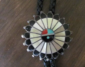 Vintage Zuni Sterling Silver Inlayed Bolo Tie