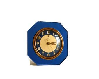 vintage Telechron blue mirror electric clock 30s 40s