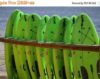 Christmas in July Paddleboards Photo, Lime Green Paddle Board Picture, Landscape Photography, Colorful Adventure Man Cave Water Sports Home