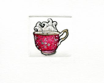 red teacup mini print etching