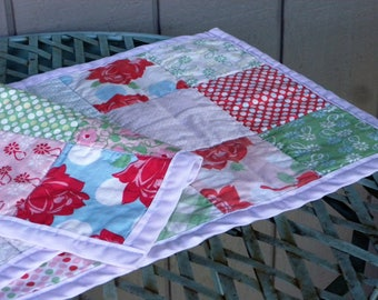 Darling Handmade PatchworkRunner in  Pink,Green and Blue  //  Kitchen and Dining Linens //  Home and Living