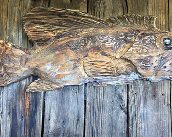 Driftwood Beach Décor Fish 2d sculpture by SEASTYLE