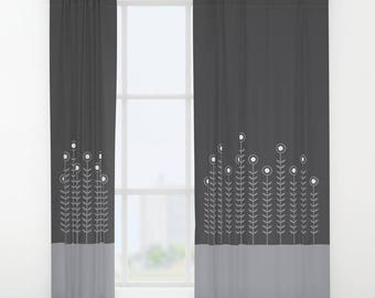 27 colours, Single or Double panel curtains, Minimalist Flowers Curtains, Dove Grey curtain, Charcoal Black curtain, Flowers