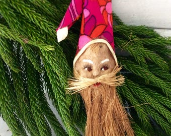 Hawaiian Santa Ornament - Christmas Ornament - Kid's Room Decor -  hand painted - collectible - Vintage Holiday decor - 70s Christmas