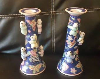 Vintage Chinese porcelain candle holders