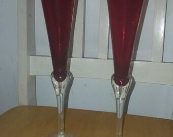 Vintage ruby red champagne flutes /glasses