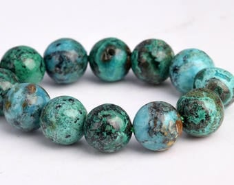 "8MM Genuine Chrysocolla Beads Grade AAA Natural Gemstone Half Strand Round Loose Beads 7.5"" BULK LOT 1,3,5,10 and 50 (102746h-599)"