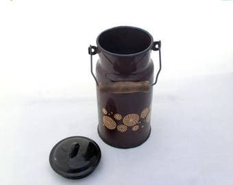 SALE 20% off Vintage brown enamel milk box / vase / pot