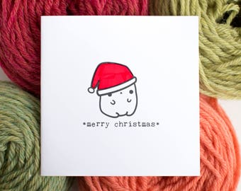 small Christmas card - cute Christmas bear
