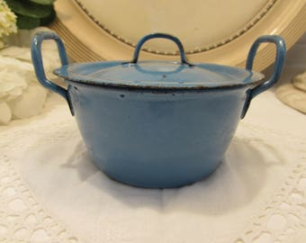 Antique French small blue enamel cooking pot. Country cottage chic