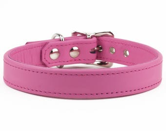 Candy Floss Pink Leather Dog Collar