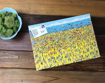 Where's Waldo On The Beach Jigsaw Puzzle 100 Piece Puzzle 1989 Vintage Look and Find Waldo