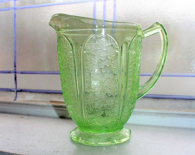 Green Depression Glass Pitcher Cherry Blossom Vintage 1930s