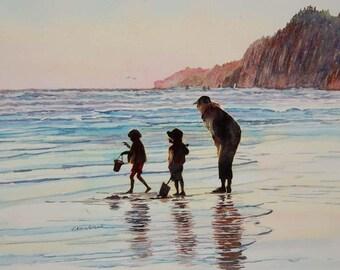 Watercolor ORIGINAL - Vacation Sundown - beach, travel, sunset, ocean, Oregon, Manzanita, Neahkahnie, family