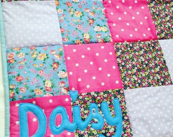 Baby Playmat, Personalised Patchwork Quilt Playmat, Baby Name Blanket, Baby gift