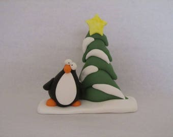 Polymer Clay Penguin and Christmas Tree
